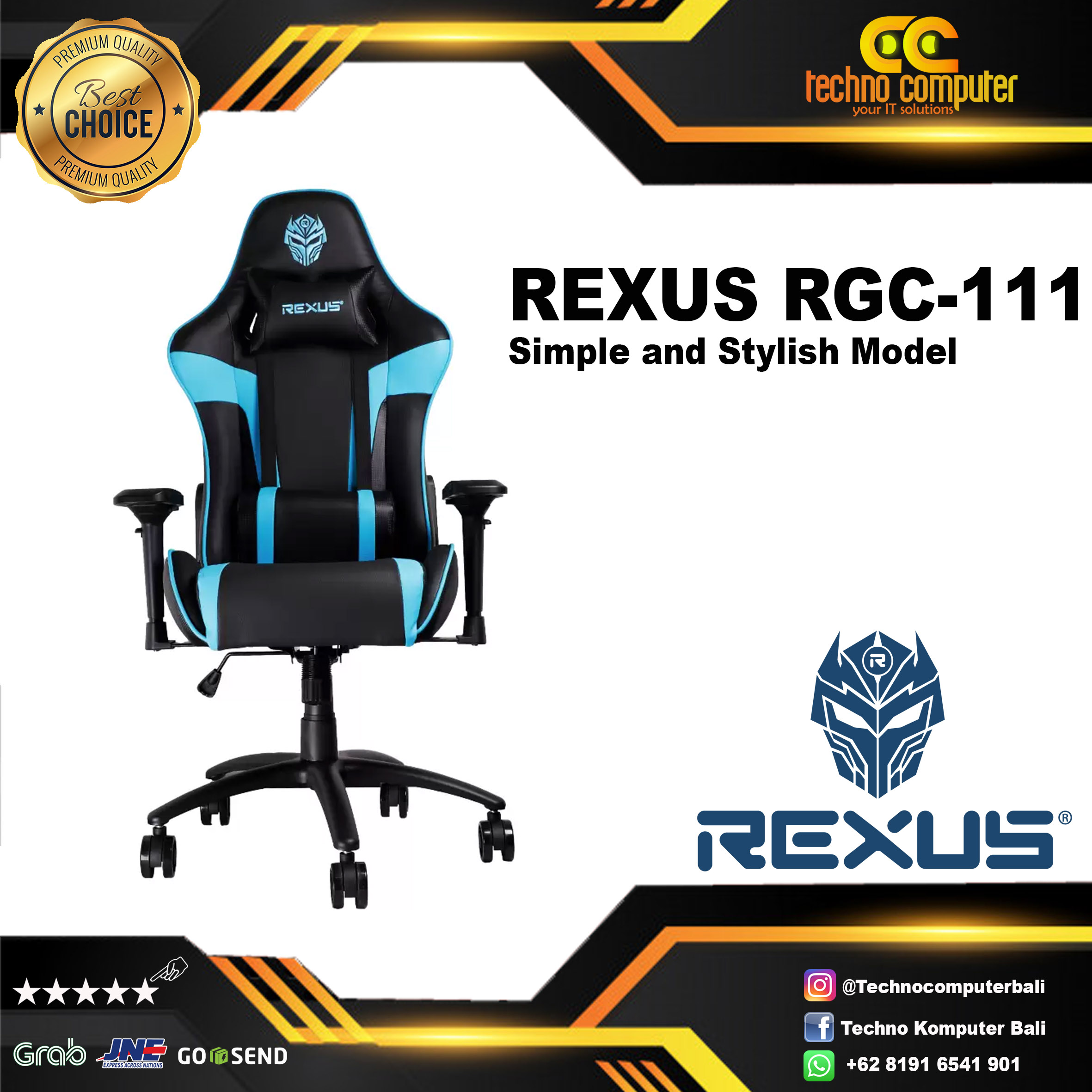 Kursi Gaming REXUS RGC-111 BLUE Black - XL Size