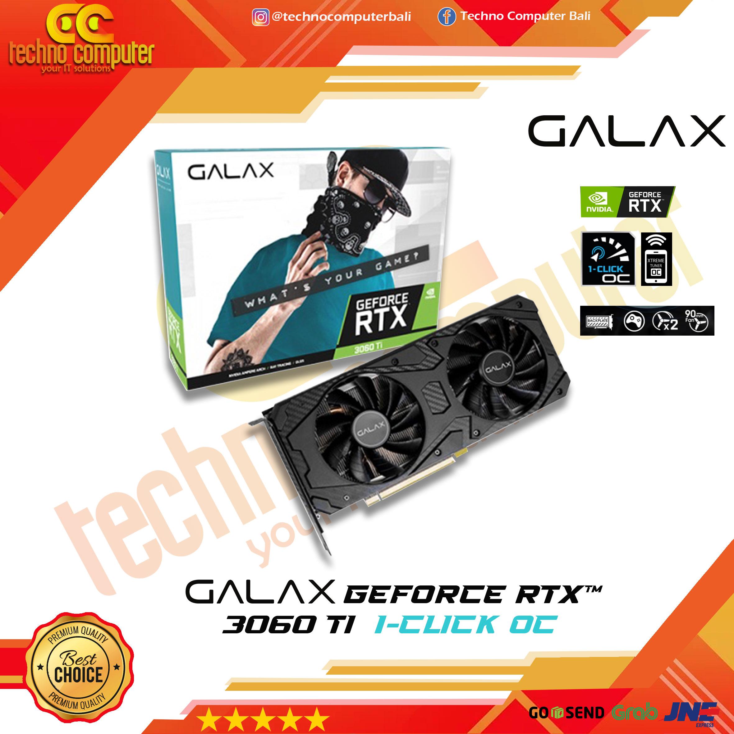 GALAX Geforce RTX 3060Ti 8GB DDR6X (1-Click OC) - DUAL FAN