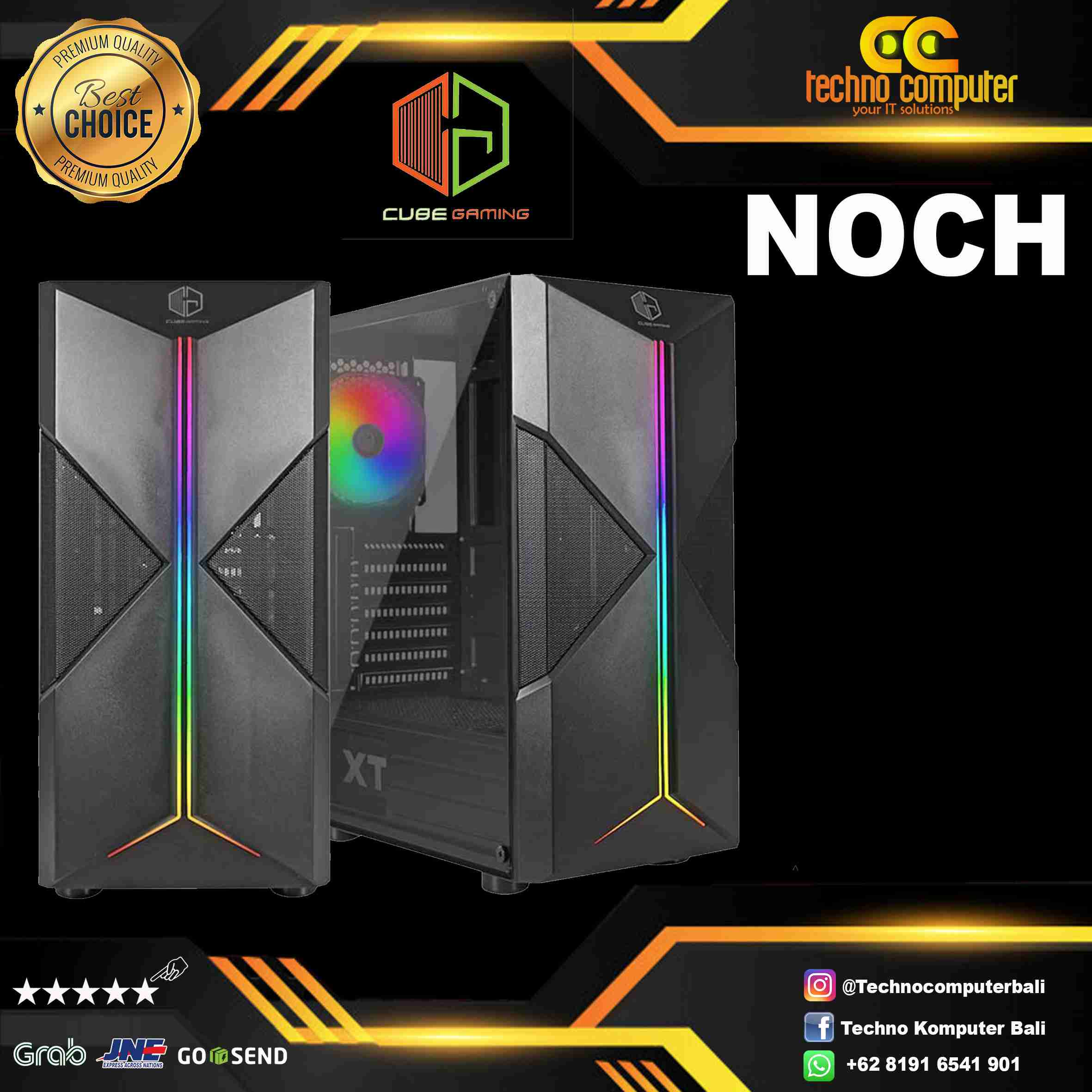 CASING CUBE GAMING NOCH - ATX - LEFT SIDE TEMPERED GLASS - FRONT LED RGB - FREE 1 PCS 12CM RGB FAN