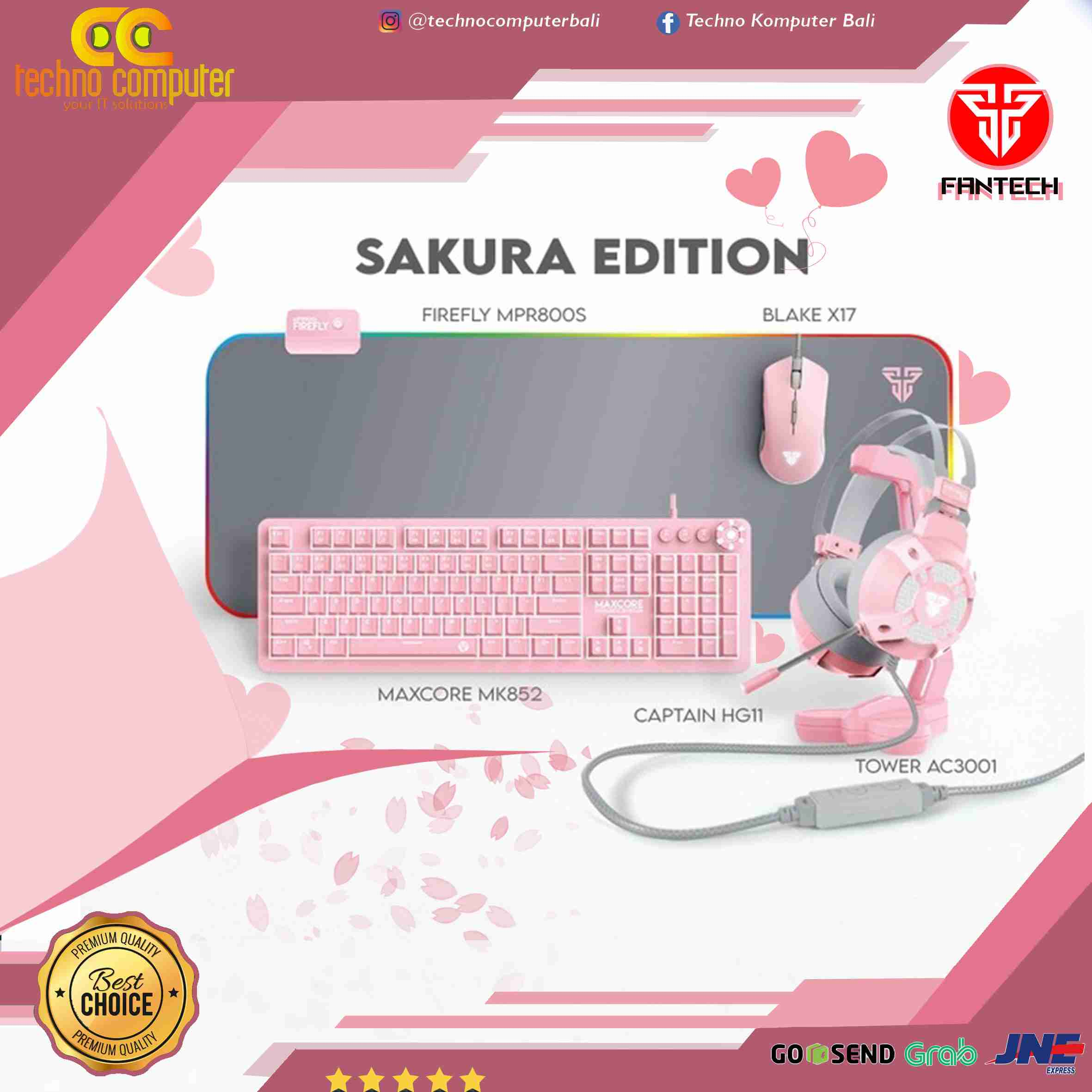 Fantech Sakura Pink Edition Bundle Set Gaming Gear