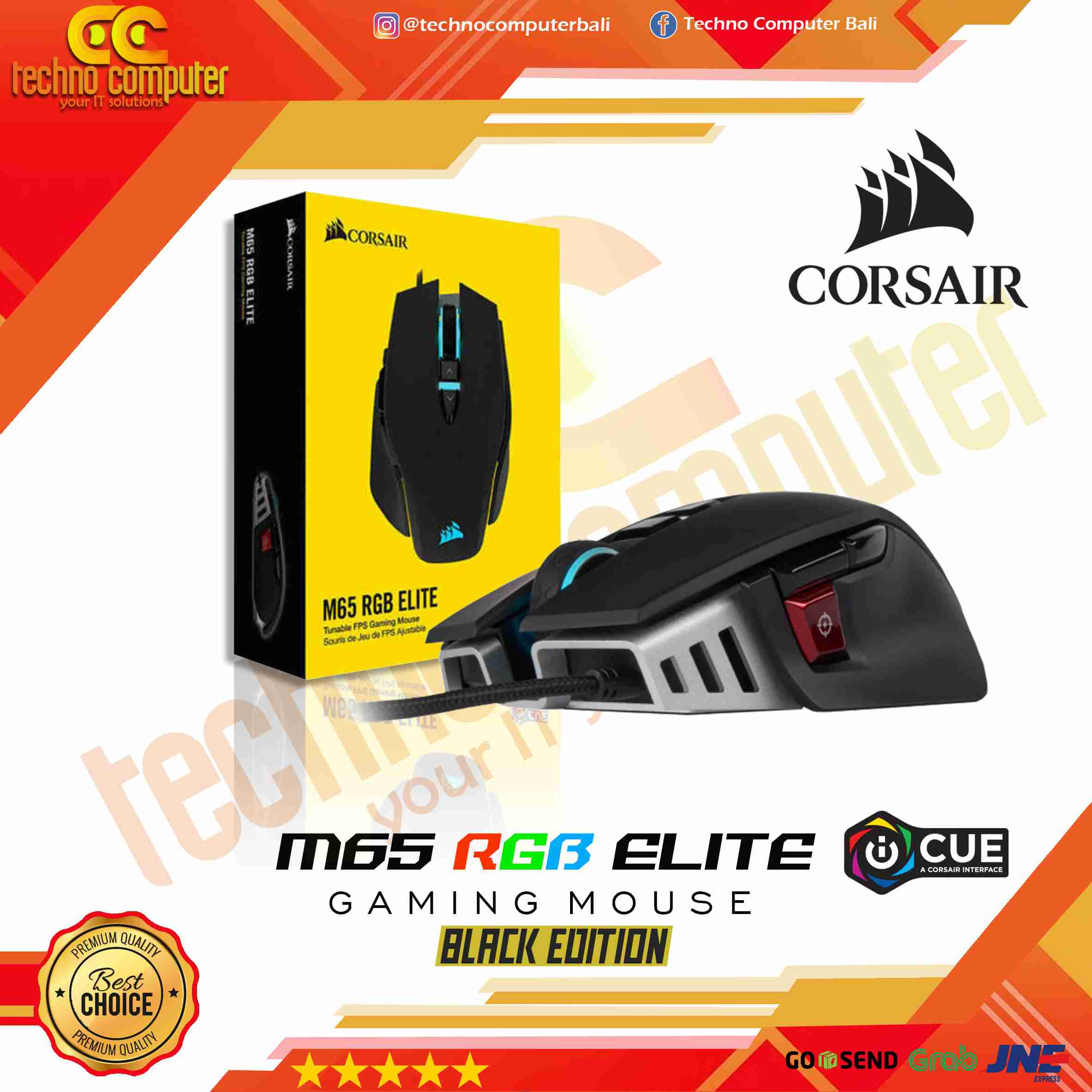 MOUSE GAMING CORSAIR M65 RGB ELITE-BLACK