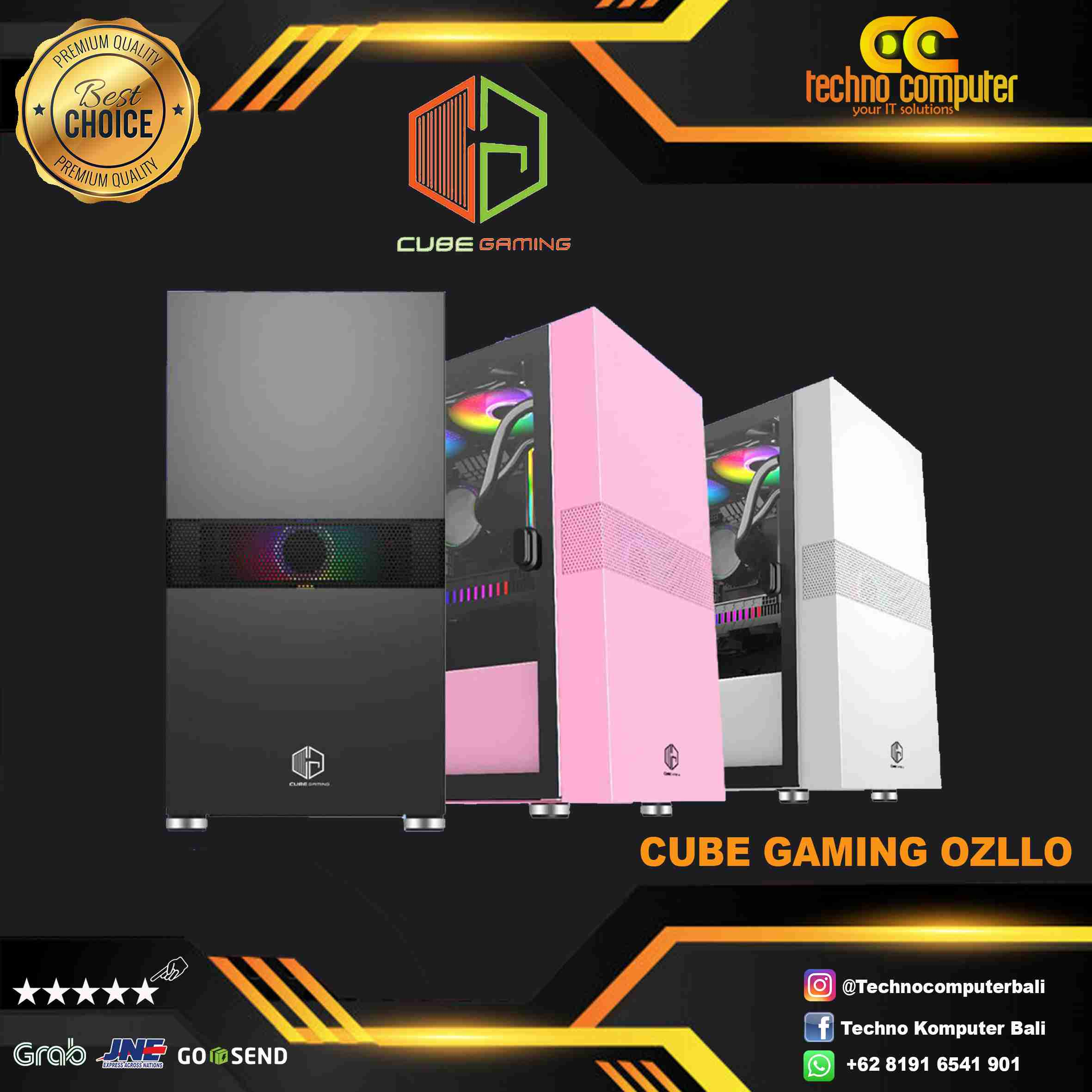 CASING CUBE GAMING OZLLO WHITE - mATX - LEFT SIDE MAGNETIC GLASS DOOR - Free 1pcs 120mm RGB Fan