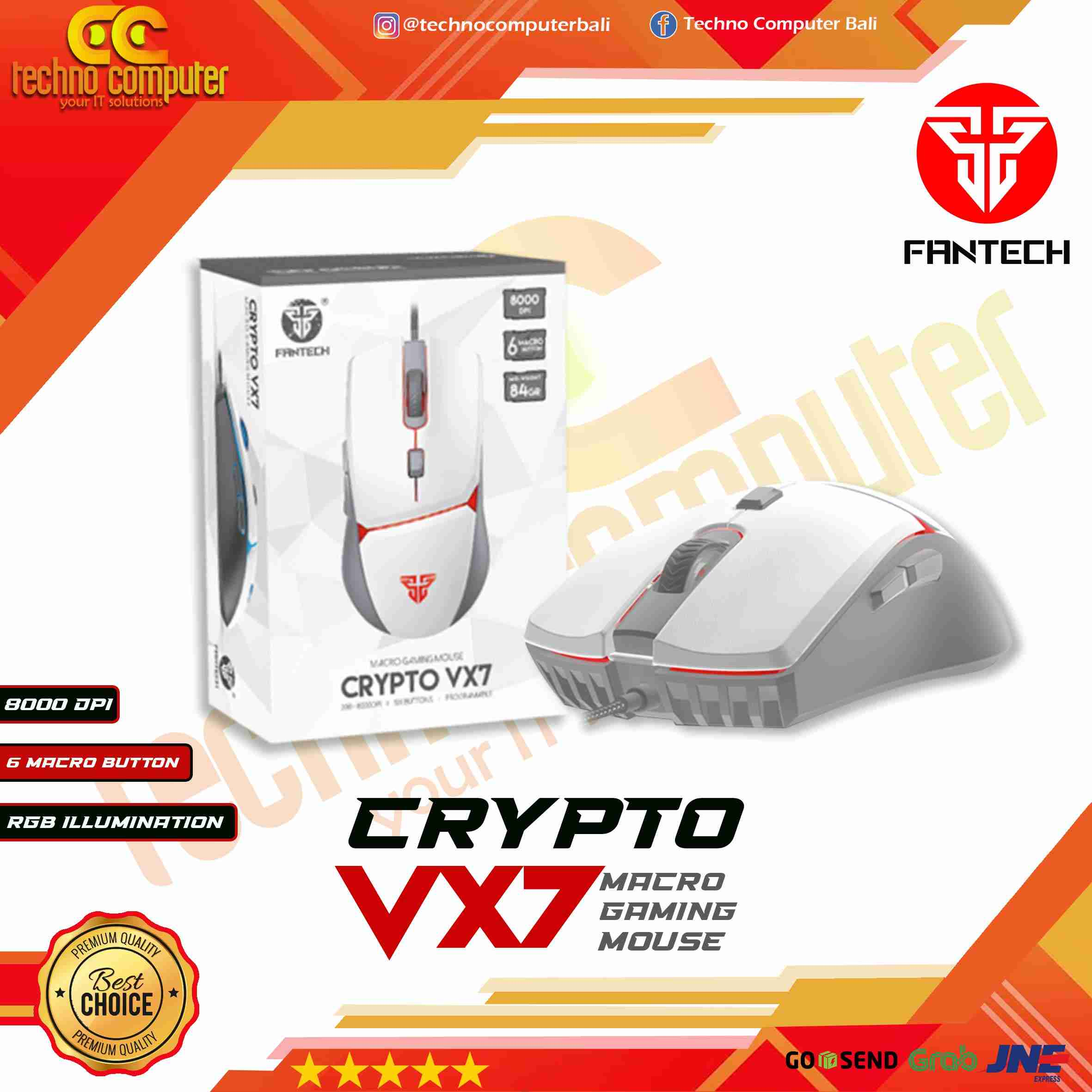 MOUSE GAMING FANTECH CRYPTO VX7 RGB - WHITE