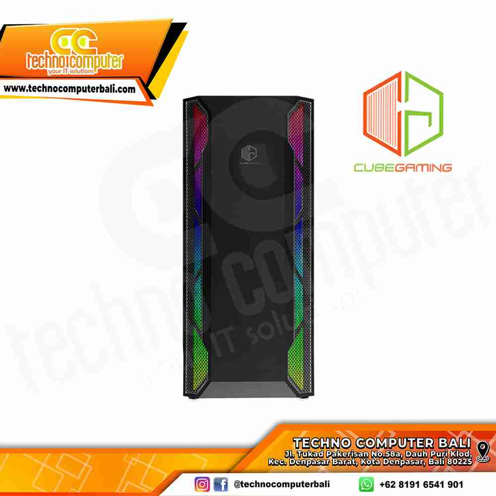 CASING CUBE GAMING DUSTIN BLACK - ATX TEMPERED GLASS - RGB Front Panel