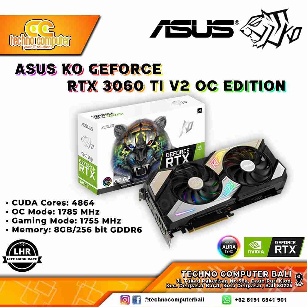 VGA ASUS KO GeForce RTX 3060 Ti V2 OC Edition 8GB GDDR6 with LHR